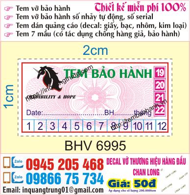 Cần in tem bảo hành