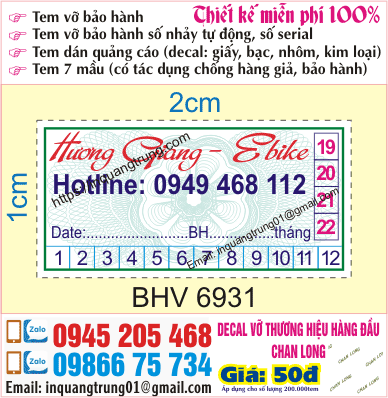 In tem bảo hành Bắc Ninh
