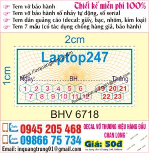In tem bảo hành giá rẻ Bắc Giang, chất lượng cao, thiết kế đẹp miễn phí, ship code toàn quốc