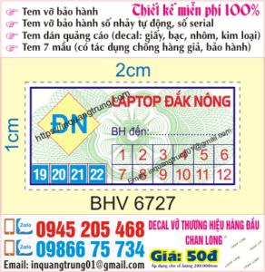 In tem bảo hành giá rẻ Bắc Kạn, thiết kế miễn phí, ship cod toàn quốc