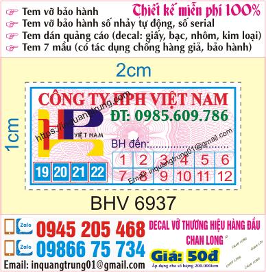 In tem bảo hành lấy ngay tại Thái Bình