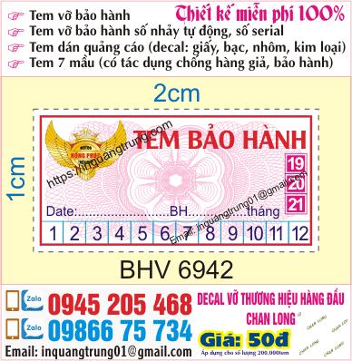 In tem bảo hành nhanh giá rẻ tại Hà Nội