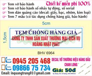 In tem bảo hành nhanh tại Hà Nội