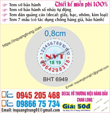 In tem bảo hành ở Bắc Ninh