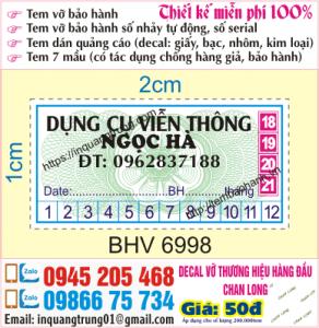 In tem bảo hành sản phẩm