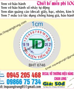 In tem bảo hành tại Bà Rịa - Vũng Tàu