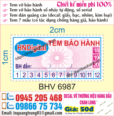 In tem bảo hành tại Bắc Ninh