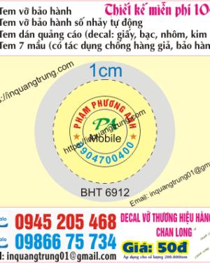 In tem bảo hành tại Bình Phước