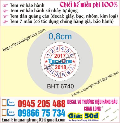In tem bảo hành tại Đắk Nông
