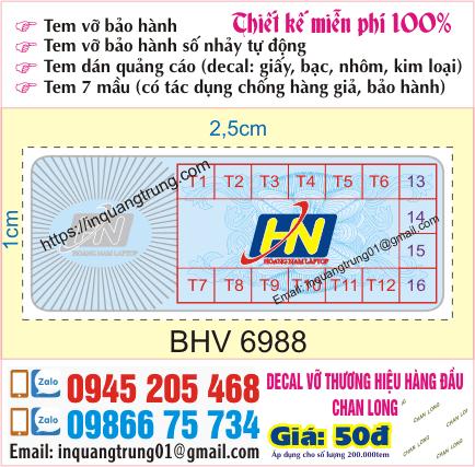In tem bảo hành tại Hà Nội 50đ