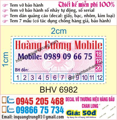 In tem bảo hành tại Phú Thọ