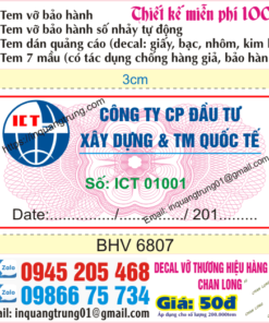 In tem bảo hành tại Thành phố Sông Công