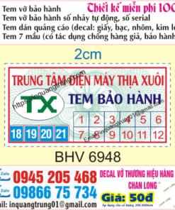 In tem bảo hành tại Tuyên Quang giá rẻ
