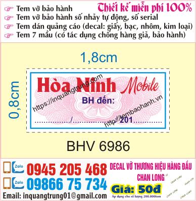 In tem bảo hành tại Vĩnh Phúc