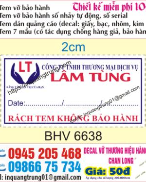 In tem vỡ ở Quảng Ninh | In tem bảo hành ở Quảng Ninh