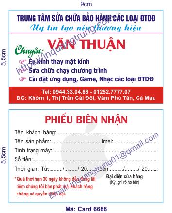 In card visit tại Bà Rịa - Vũng Tàu