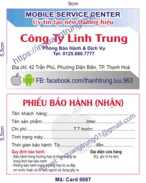 In card visit tại Bạc Liêu
