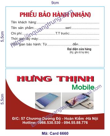 In card visit tại Hưng Yên