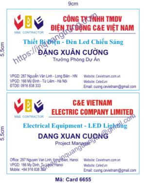 In card visit tại Lai Châu