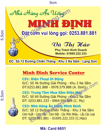 In card visit tại Long An