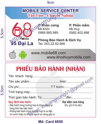 In card visit tại Nam Định