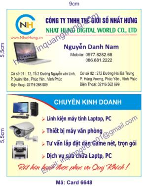 In card visit tại Ninh Bình