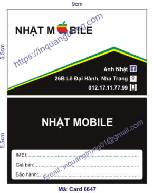 In card visit tại Ninh Thuận