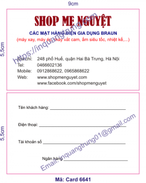 In card visit tại Quảng Ninh