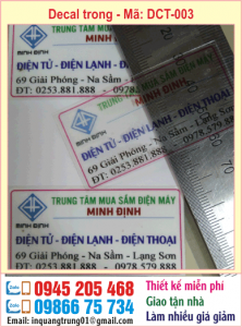 In decal trong lấy nhanh