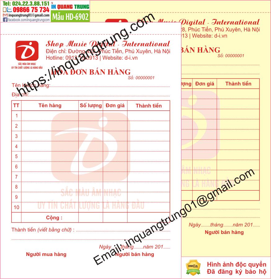 In hóa đơn bán hàng tại Bình Phước