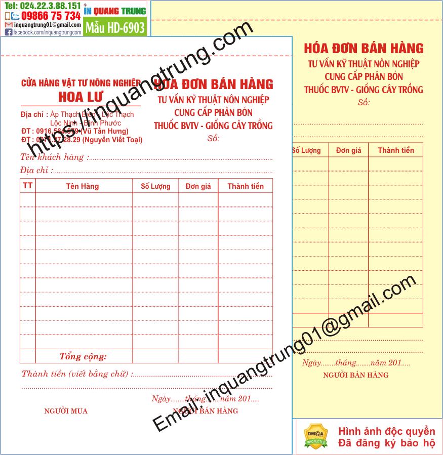 In hóa đơn bán hàng tại Bình Định