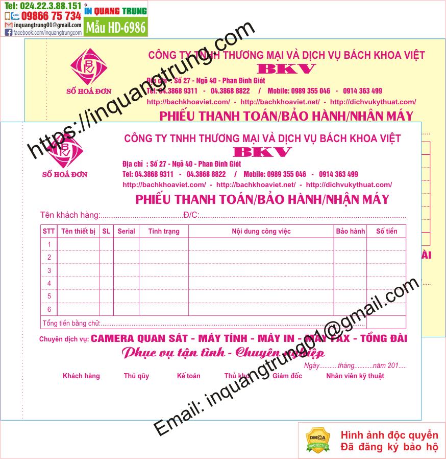 In hóa đơn bán hàng tại Hà Nam