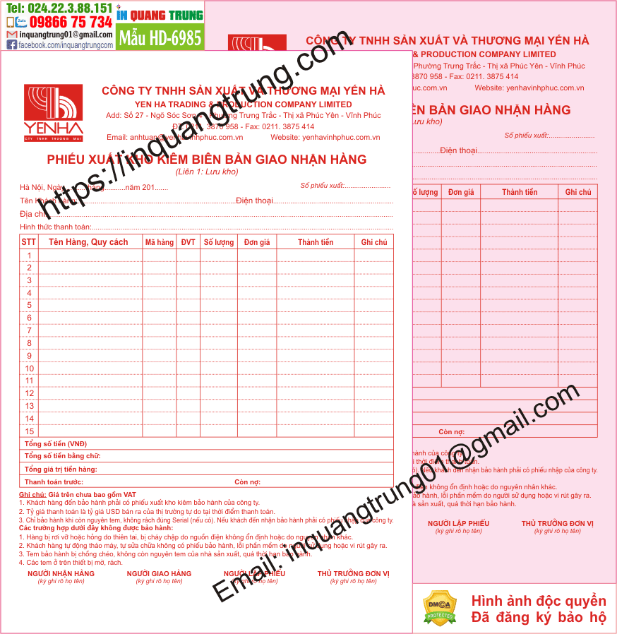 In hóa đơn tại Hà Tĩnh