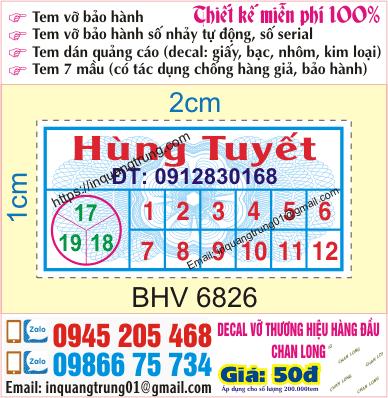 In tem bảo hành giá rẻ Hà Nội