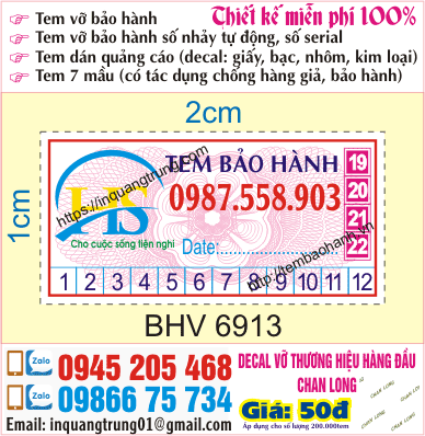 In tem bảo hành tại 129 Trương Định