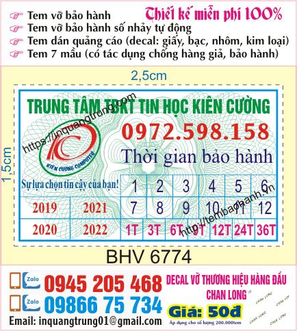 In tem bảo hành tại 29 Tô Hiệu, Nghĩa Tân, Cầu Giấy, Hà Nội