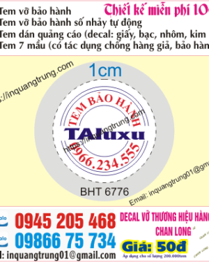In tem bảo hành tại 460 Trần Quý Cáp
