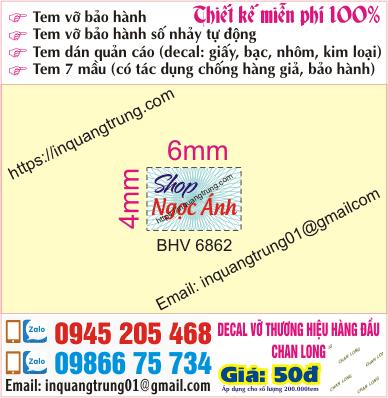 In tem bảo hành tại Đại Cồ Việt