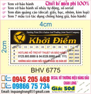 In tem bảo hành tại Đặng Tiến Đông