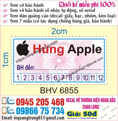In tem bảo hành tại Đặng Văn Ngữ