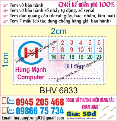In tem bảo hành tại Đồng Xuân