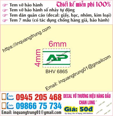 In tem bảo hành tại Hoàng Quốc Việt
