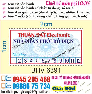 In tem bảo hành tại Lê Thanh Nghị