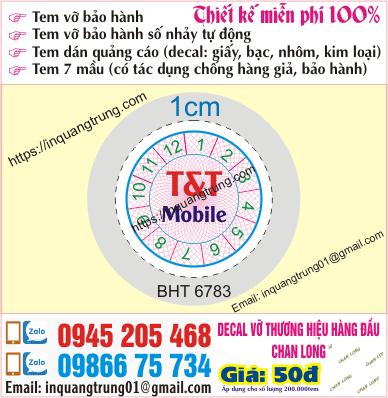 In tem bảo hành tại Lê Trọng Tấn