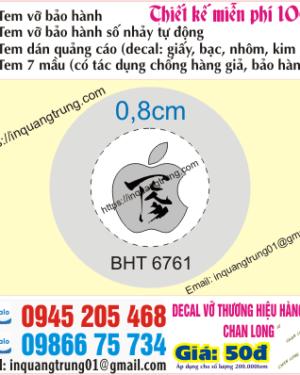 In tem bảo hành tại Lê Văn Lương