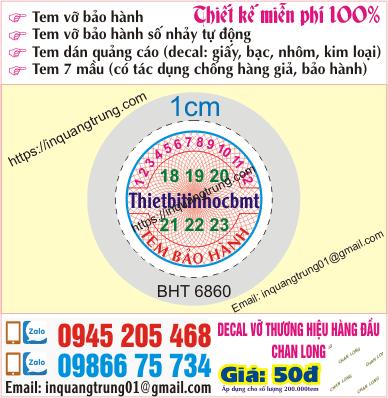 In tem bảo hành tại Lê Văn Thiêm