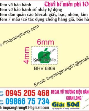 In tem bảo hành tại Lương Yên