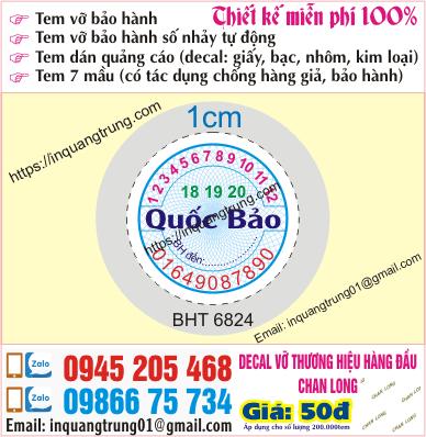 In tem bảo hành tại Nguyễn Chí Thanh