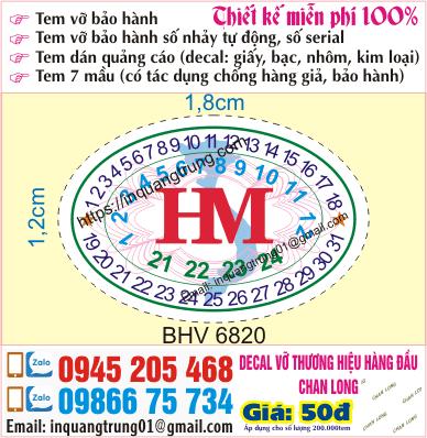 In tem bảo hành tại Nguyễn Du