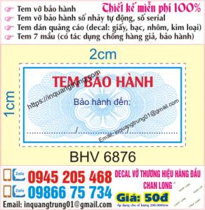 In tem bảo hành tại Nhổn